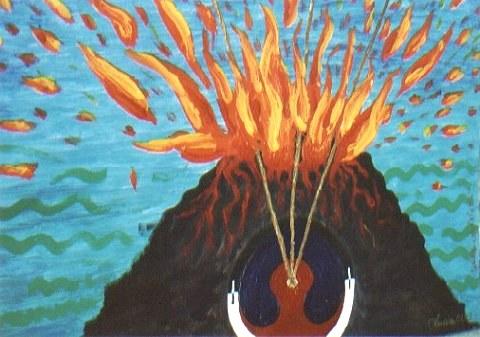 "Lucian ""Vulkan der Lust II - Was ist Tantra "" – 02/03 Acryl auf Aquarellpapier 59×42 cm"
