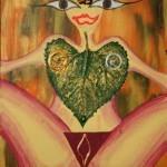 Gemälde Frauen Blatt Haare