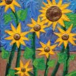 Sonnenblumen, Wiese, Sonne, Gemälde, Kunst